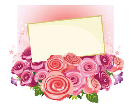 beautifully: bouquet of roses with a letter of congratulations Illustration