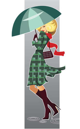 blonde females: illustration of fashionable woman with umbrella
