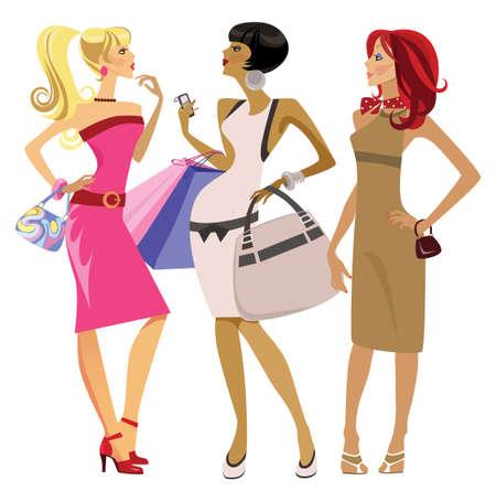 ilustración de tres niñas revolviendo de