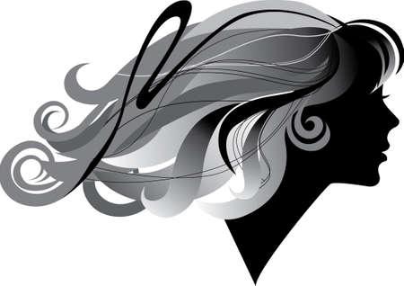 profil: Silhouette eines M�dchens mit windblown lange Haare im Profil