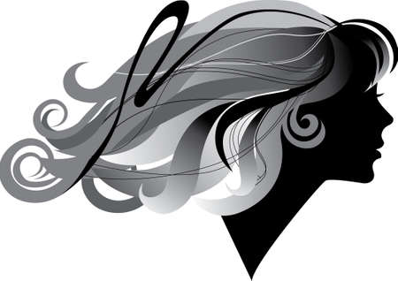 silhouette  of a girl with windblown long hair in profile Illustration