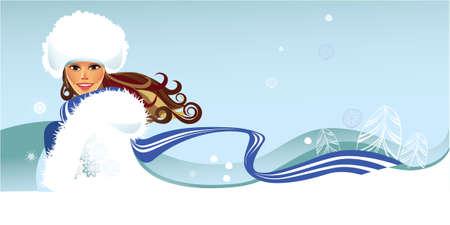 winter fashion: winter woman Illustration