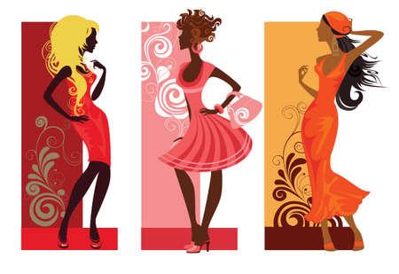 tendencja: trzy kobiety mody Ilustracja