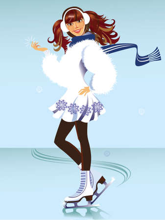 cheerful girl on the skates