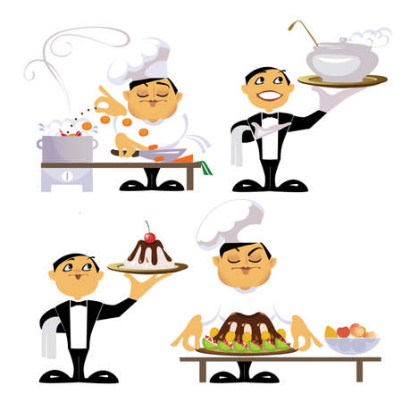 animated characters of a workers of kitchen Vector