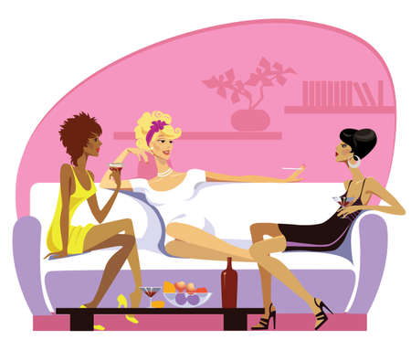 women in a drawing-room Stock Vector - 6199601