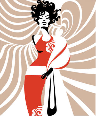 hairstyling: illustration of a lady in red