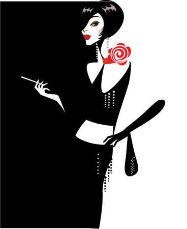 taglio capelli: illustrazione di una signora in nero  Vettoriali