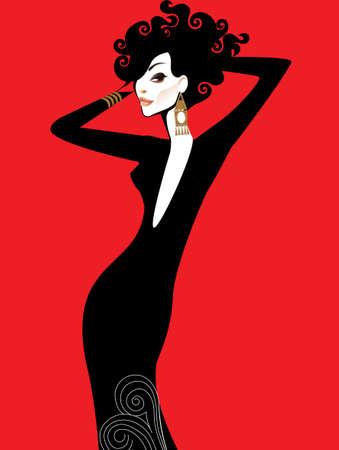 hairstyling: Ilustraci�n de una dama en vestido negro sobre fondo rojo