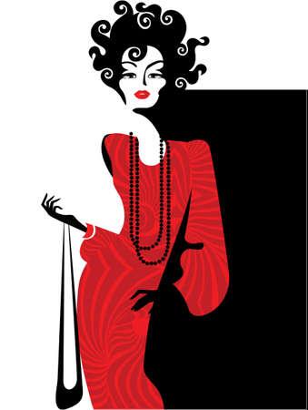 hairstyling: Dama en rojo sobre fondo negro Vectores