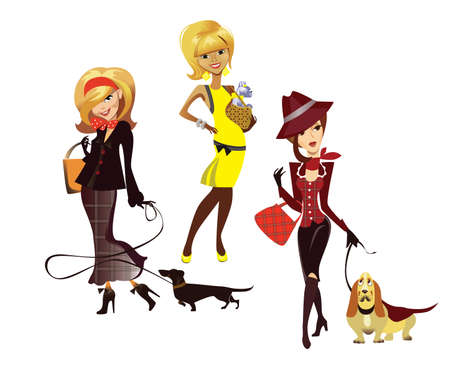 ladies with dogs Vector