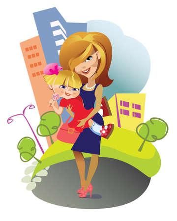 mums: madre con una peque�a hija Vectores