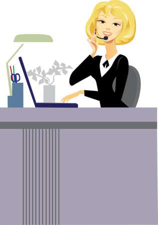 headset business: ragazza di un assistente del centro di chiamata