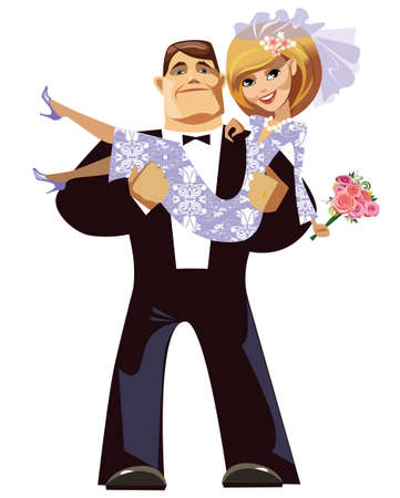 cartoon groom and bride Vector