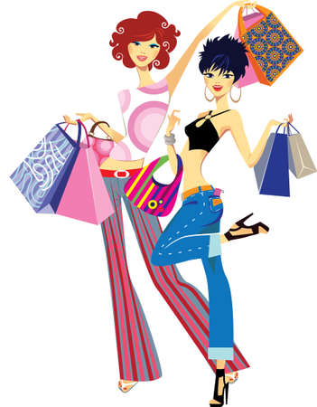 ladies shopping: successful purchase  Illustration