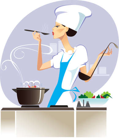 chef cocinando: Cata  Vectores