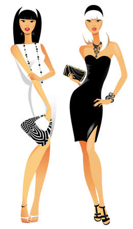 different figures: two fashionable females