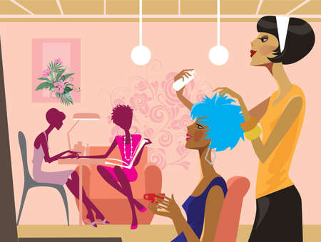 cartoon hairdresser: women in a beauty salon