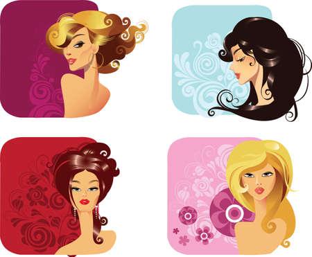 taglio capelli: Ritratto di donna con acconciatura Vettoriali