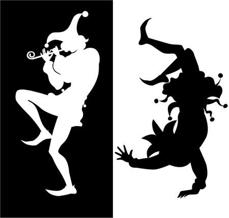 theater man: silhouette of two jester