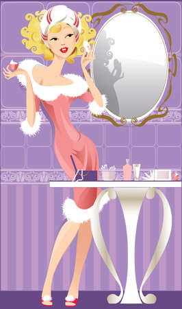 lady does make-up in a bathroom Vector