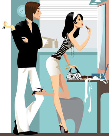 girlfriends: man and woman in the mirror