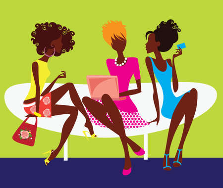 laptop silhouette: silhouette of three girls sitting on chair