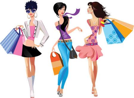 tendencja: trzy dziewczÄ…t mody Ilustracja