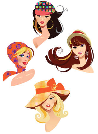 pretty female in hats Illustration