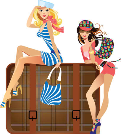 young traveler girls Illustration