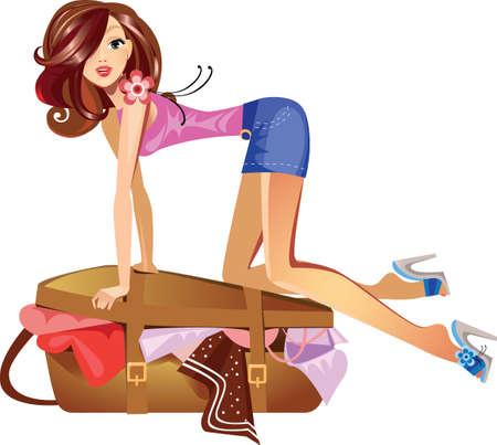 mujer con maleta: chica que cierra la maleta Vectores