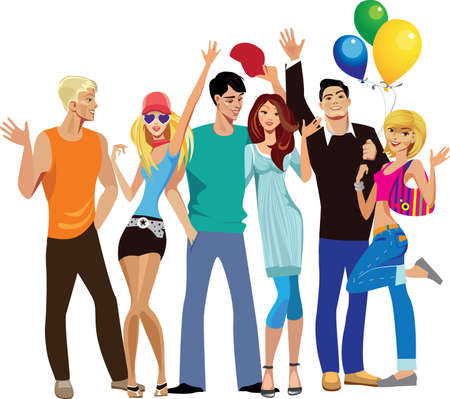 group of young happy people, hands up Stock Vector - 10559757