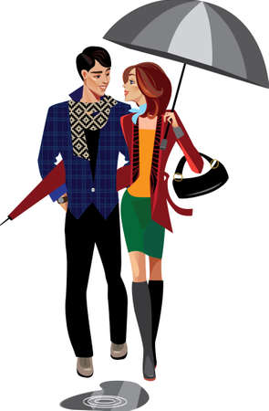 man and woman with umbrella Vector