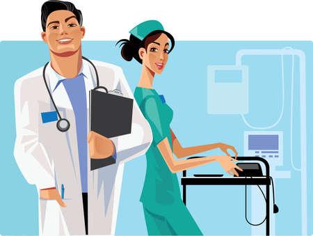 enfermera caricatura: enfermera, el m�dico y el personal de salud