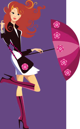 girl with umbrella Stock Vector - 11106035