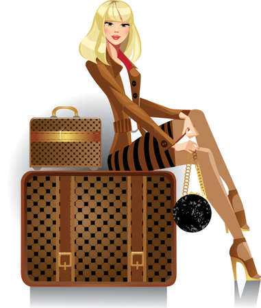 woman traveler Illustration