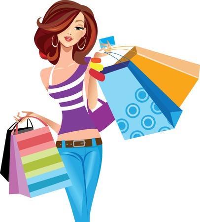 tendencja: dziewczyna zakupy Ilustracja
