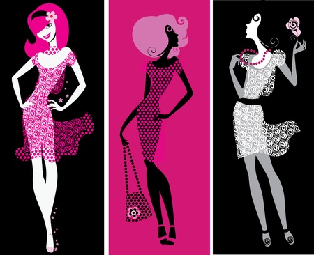 sexy woman silhouette: silhouette girls on black and pink background