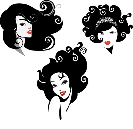 hair style set: face of female Illustration