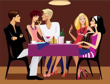 amigas conversando: el almuerzo amistoso