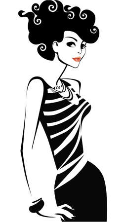 hairstyling: black and white illustration of woman