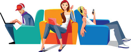 sitting on sofa: wi-fi zone