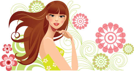 beautiful girl face: spring girl