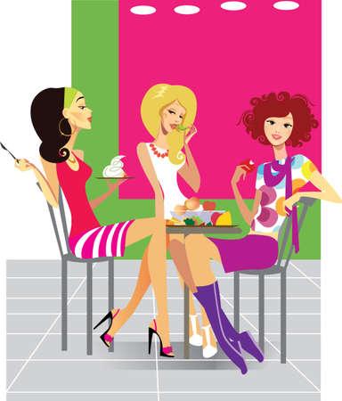friendship women: in cafe