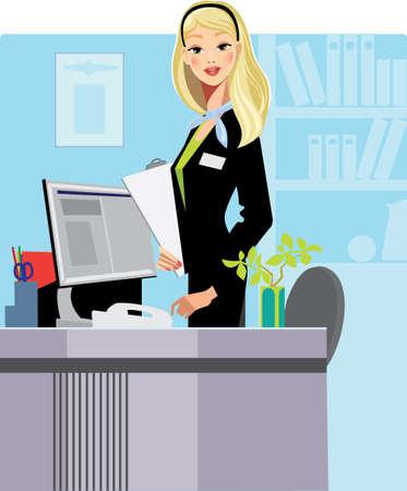 office lady: cartoon secretary
