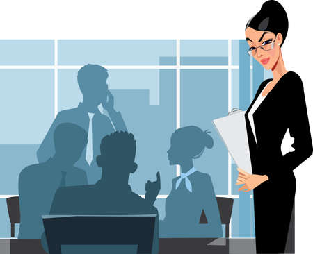 office staff: business woman and staff in office Illustration