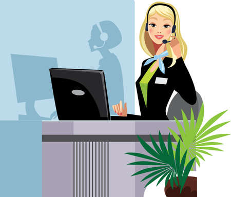 receptionist: call center girl