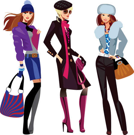 clothes cartoon: fashion women in winter clothes Illustration
