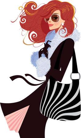 woman in black coat Stock Vector - 13544577
