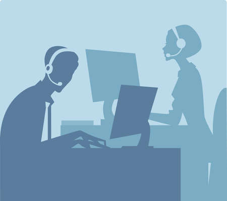 customer service phone: call center  Illustration